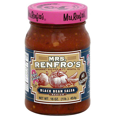 Mrs. Renfro's Black Bean Medium Salsa, 16 oz (Pack of 6)