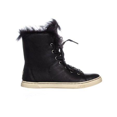 UGG Australia Croft Sheepskin Lace Up Fashion Sneakers, Black - image 3 of 6
