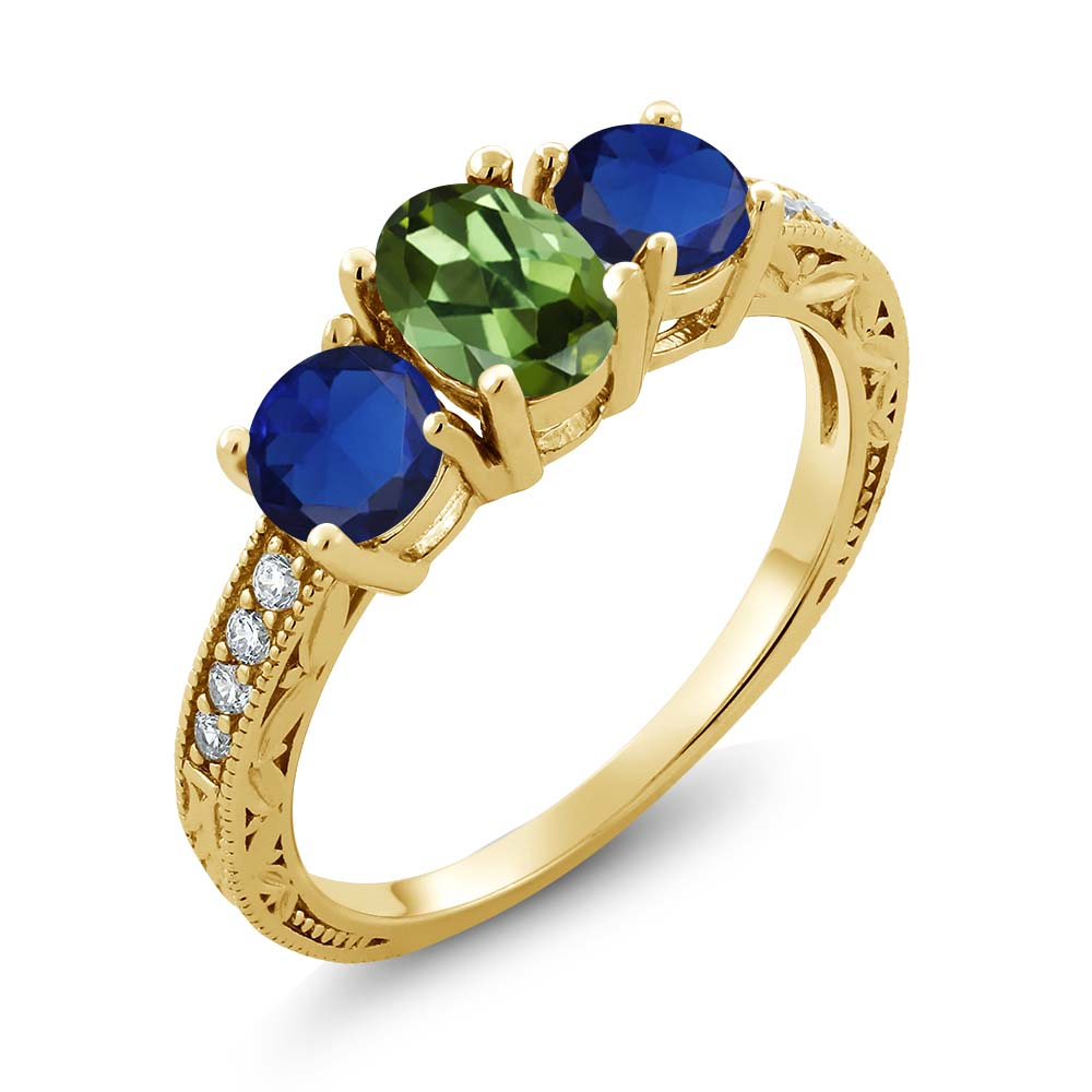 2.02 Ct Oval Green Tourmaline Blue Simulated Sapphire 14K Yellow Gold Ring by