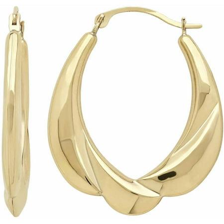 10kt Yellow Gold Scalloped Swirl Oval Hoop Earrings ()