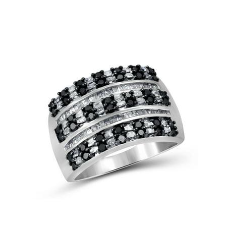 1.00 CTW Round & Baguette cut Black & White Diamond Multi-row Band Sterling Silver Ring Baguette Cut Diamond Setting