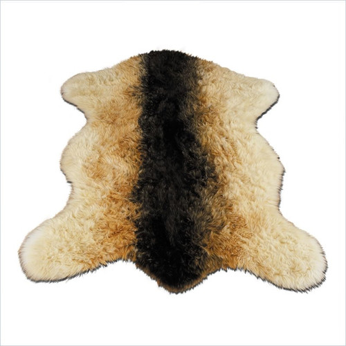 Walk On Me Animal Faux Sheepskin Beige/Black Area Rug