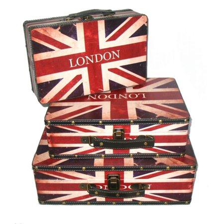 Set of 3 Rustic British Flag Decorative Wooden Storage Boxes 16