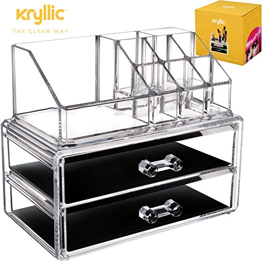 Acrylic Makeup Organizer Cosmetic Jewelry - Great for Organizing your Lipstick Nail Polish Makeup Brushes Set Holder keep your Vanity Dresser Bathroom Organized with 2 set of Drawers