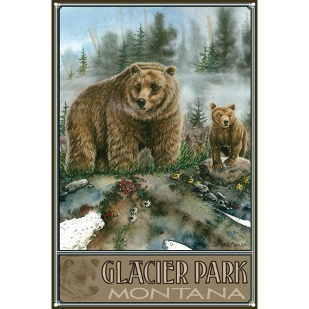 Glacier National Park Montana Grizzly Bear and Cub Metal Art Print by Dave Bartholet (12