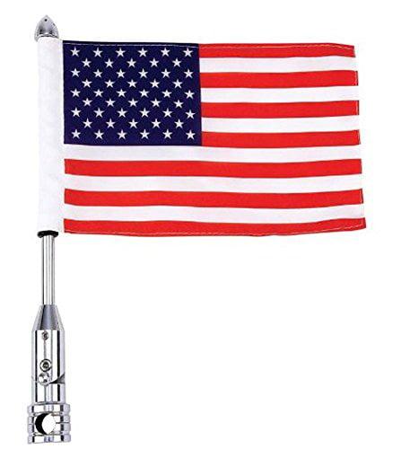 Diamond Plate BKFLAGPL Motorcycle Flagpole Mount and American Flag USA