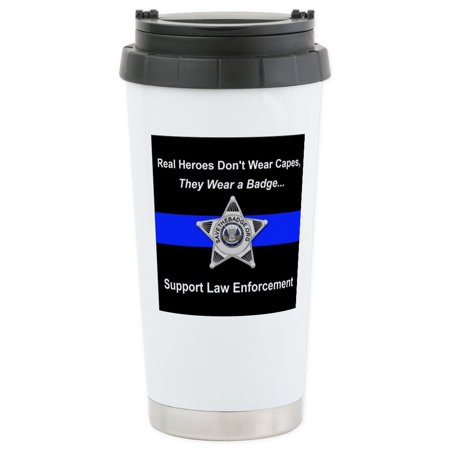 CafePress - Real Heroes Wear Badges Stainless Steel Travel Mug - Stainless Steel Travel Mug, Insulated 16 oz. Coffee Tumbler ()