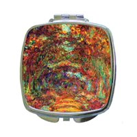 Artist Claude Monet's Rose Arch in Giverny Painting Print Design - Compact Beauty Mirror - Square Shaped