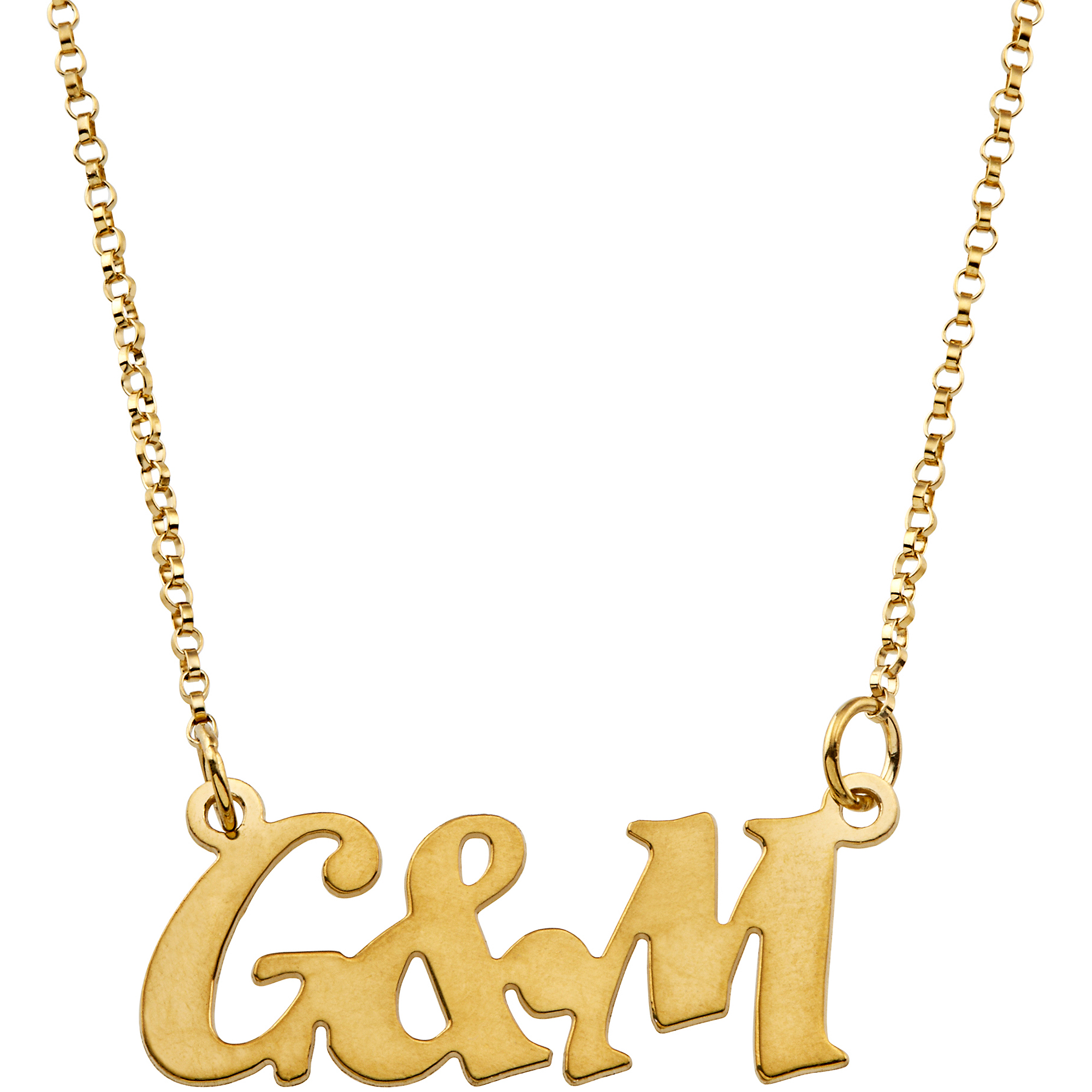 Personalized Couple's Gold Over Sterling Silver Uppercase Initial Necklace