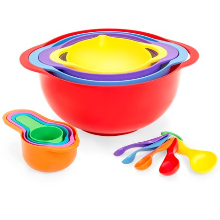 Stackable Glass Bowl (Best Choice Products 13-Piece BPA-Free Dishwasher-Safe Stackable Kitchen Mixing Bowl Set for Cooking and Baking w/ Measuring Cups, Colander - Multicolor )