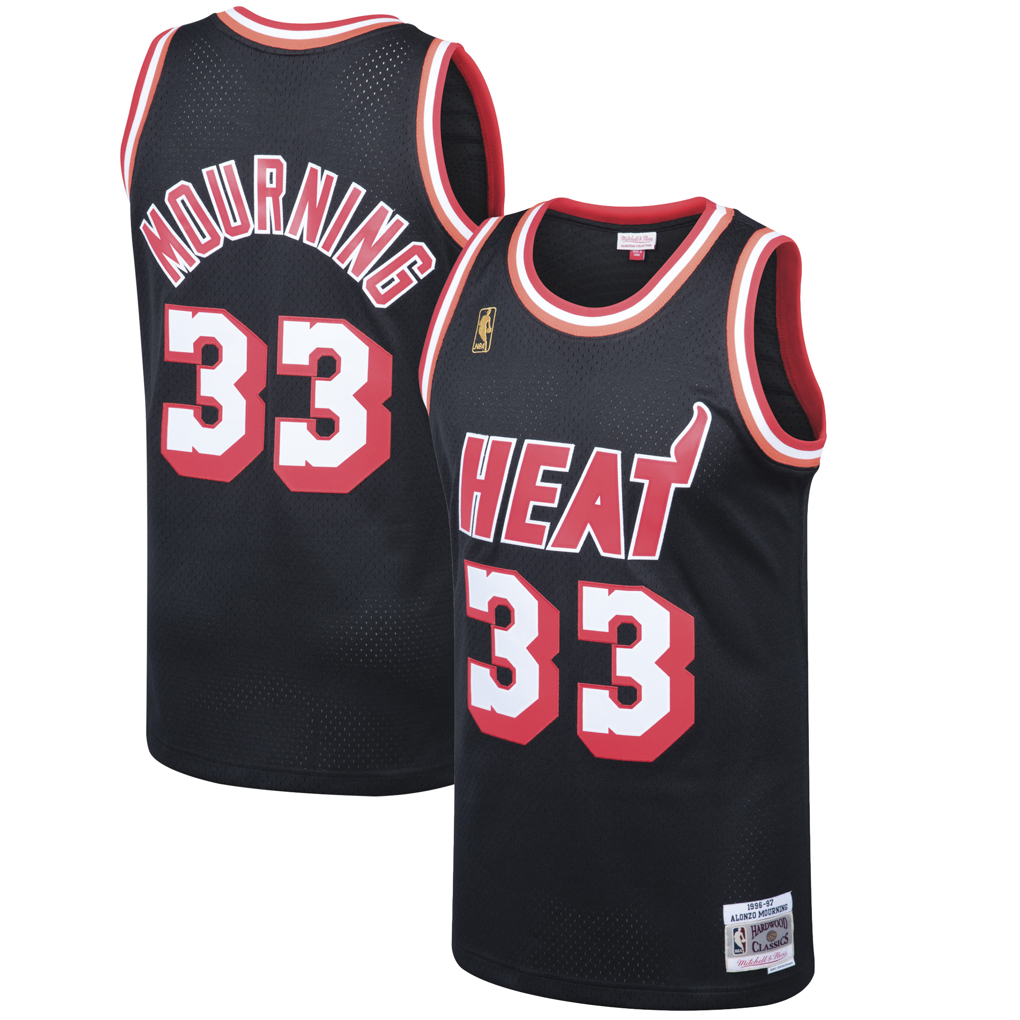 Alonzo Mourning Miami Heat Mitchell & Ness 1996-97 Hardwood Classics Swingman Jersey - Black