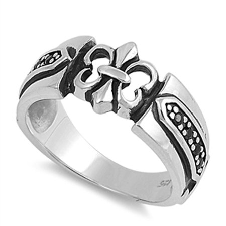 Fleur De Lis Solid Ring - Black Simulated CZ Fleur de Lis Lily Polished Ring ( Sizes 7 8 9 10 11 12 ) Sterling Silver Thumb Band Rings by Sac Silver (Size 11)