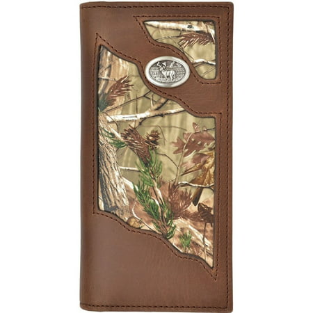 Badger Western Wallet Mens Leather Rodeo Deer Concho Camo Brown -