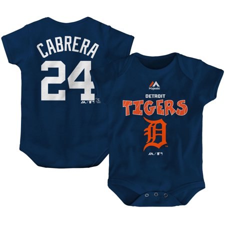Miguel Cabrera Detroit Tigers Majestic Newborn & Infant Stitched Player Name & Number Bodysuit - Navy