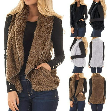 High Quality Winter Warm Pocket Fluffy Coat for Women Ladies Fleece Fur Jacket Outerwear Vest Coat (Steampunk Vest Womens)