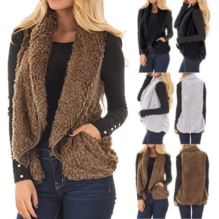 High Quality Winter Warm Pocket Fluffy Coat for Women Ladies Fleece Fur Jacket Outerwear Vest