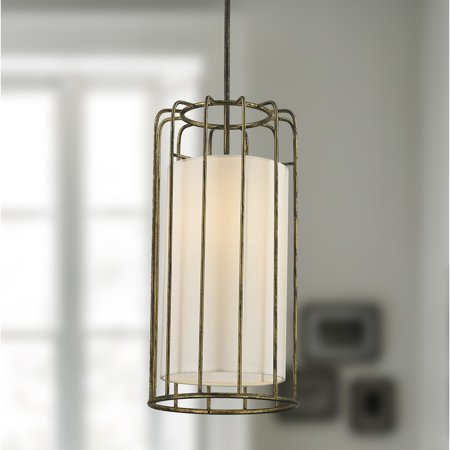 Brilliance Lighting and Chandeliers Cage Collection 1 Light Metal Cage Pendant Light in Antique Bronze Finish with Ivory Shade D10