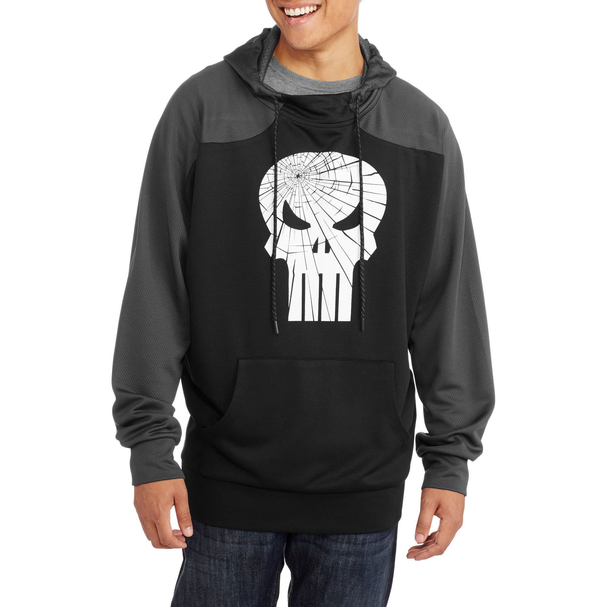 Punisher Big Men's Graphic Poly Thermal Scuba Hoodie, 2XL