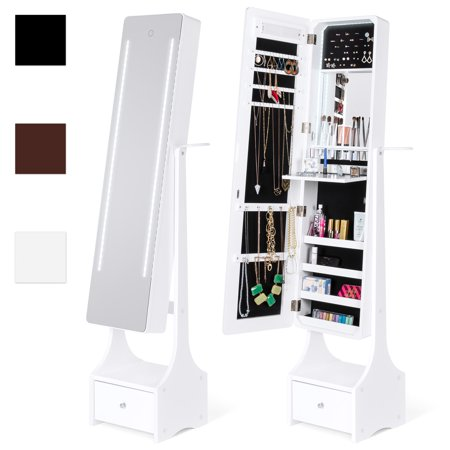 Best Choice Products Full Length Standing LED Mirrored Jewelry Makeup Storage Cabinet Armoire with Interior & Exterior Lights, Touchscreen, Shelf, Velvet Lining, 4 Compartments, Drawer, White ()
