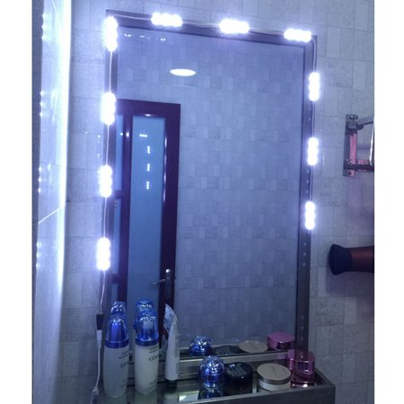 Professional Led White Dressing Mirror Lighted Cosmetic Makeup Vanity Light   Dimmer   Power Dressing Mirror Lighting  White