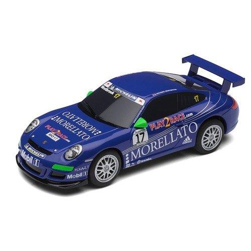 Scalextric Porsche 997 Team Morellato Slot Car in Blue