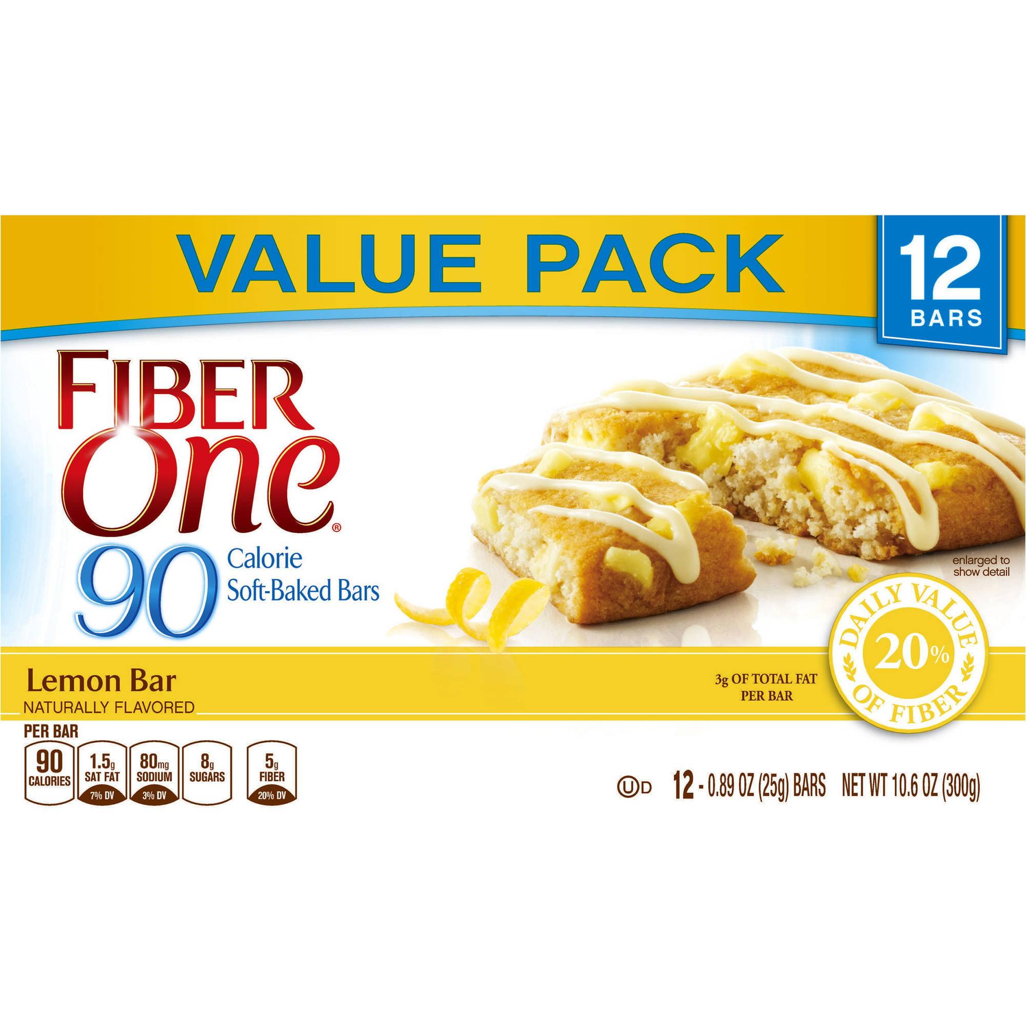 Fiber One 90 Calorie Lemon Bars, 0.89 oz, 12 count
