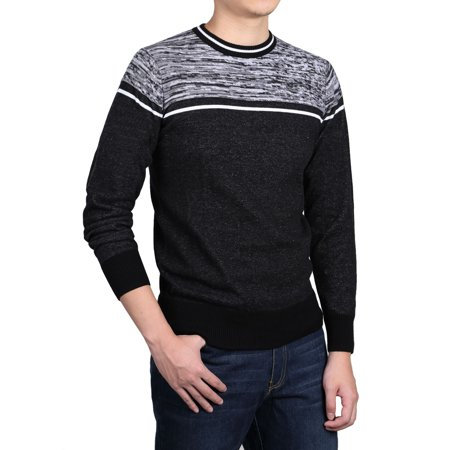 Allegra K Men Crew Neck Contrast Stripes Knitted Long Sleeves Sweaters Pullover - image 6 de 7