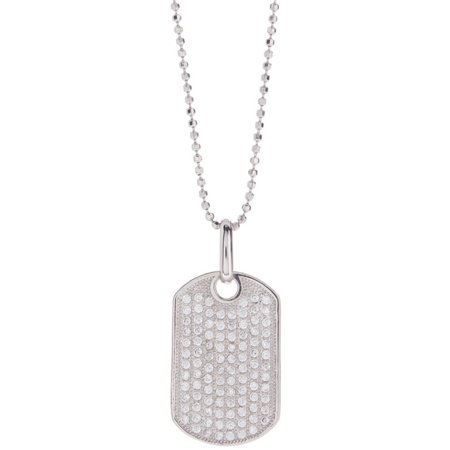 Micropave CZ Sterling Silver Dog Tag Pendant with Bead Chain Necklace](Dog Tag Necklace)