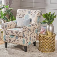 Noble House Hannah Fabric Blue Floral Club Chair