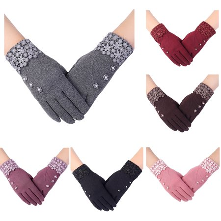 Touch Screen Gloves for Women, Cold Weather Windproof Thermal Glove for Smartphone Texting - Non-Slip Silicone Gel and Hand Warmers for Womens' Cycling and Running , Purple -