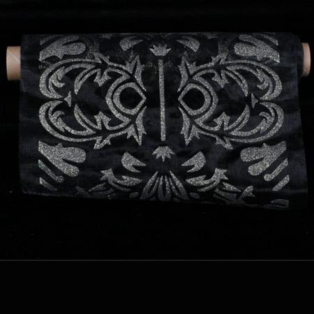Sheer Black   Gold Baripadar Cut Edge Craft Ribbon 11   X 10 Yards