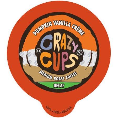 Medium Pumpkin - Crazy Cups Pumpkin Vanilla Creme Medium Roast Decaf Coffee Cups, 22 count