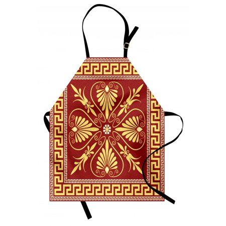Greek Key Apron Old Fashioned Frame Design with the Greek Labyrinth and Curly Leaves Flowers, Unisex Kitchen Bib Apron with Adjustable Neck for Cooking Baking Gardening, Ruby Yellow, by
