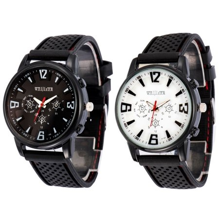 Luxury Mens Watches Quartz Stainless Steel Analog Silicone Sport Wrist Watch New