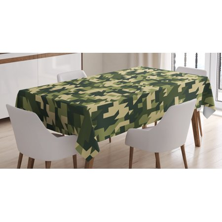 Camo Tablecloth, Abstract Camouflage in Forest Colors Jungle Environment Chevron, Rectangular Table Cover for Dining Room Kitchen, 52 X 70 Inches, Light Green Army Green Dark Green, by Ambesonne (Camouflage Table Cover)