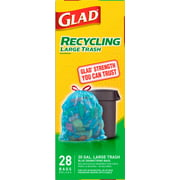 Glad Blue Recycling Large Trash Bags, 30 Gallon, 28 Bags