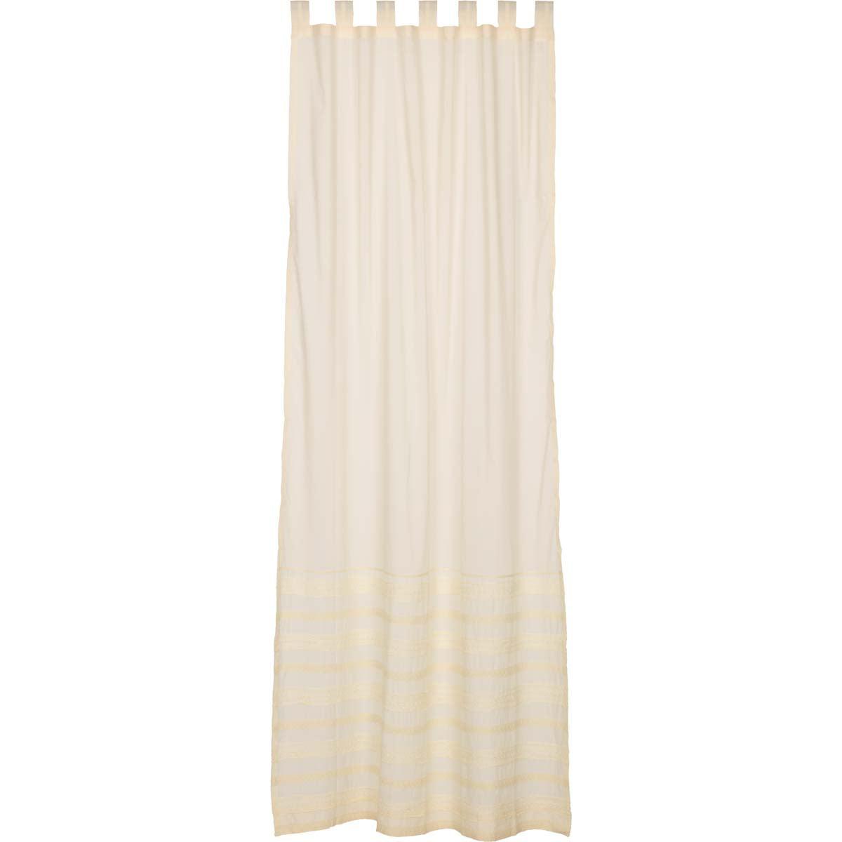 Creme White Farmhouse Curtains Jasmine Tab Top Cotton Tie