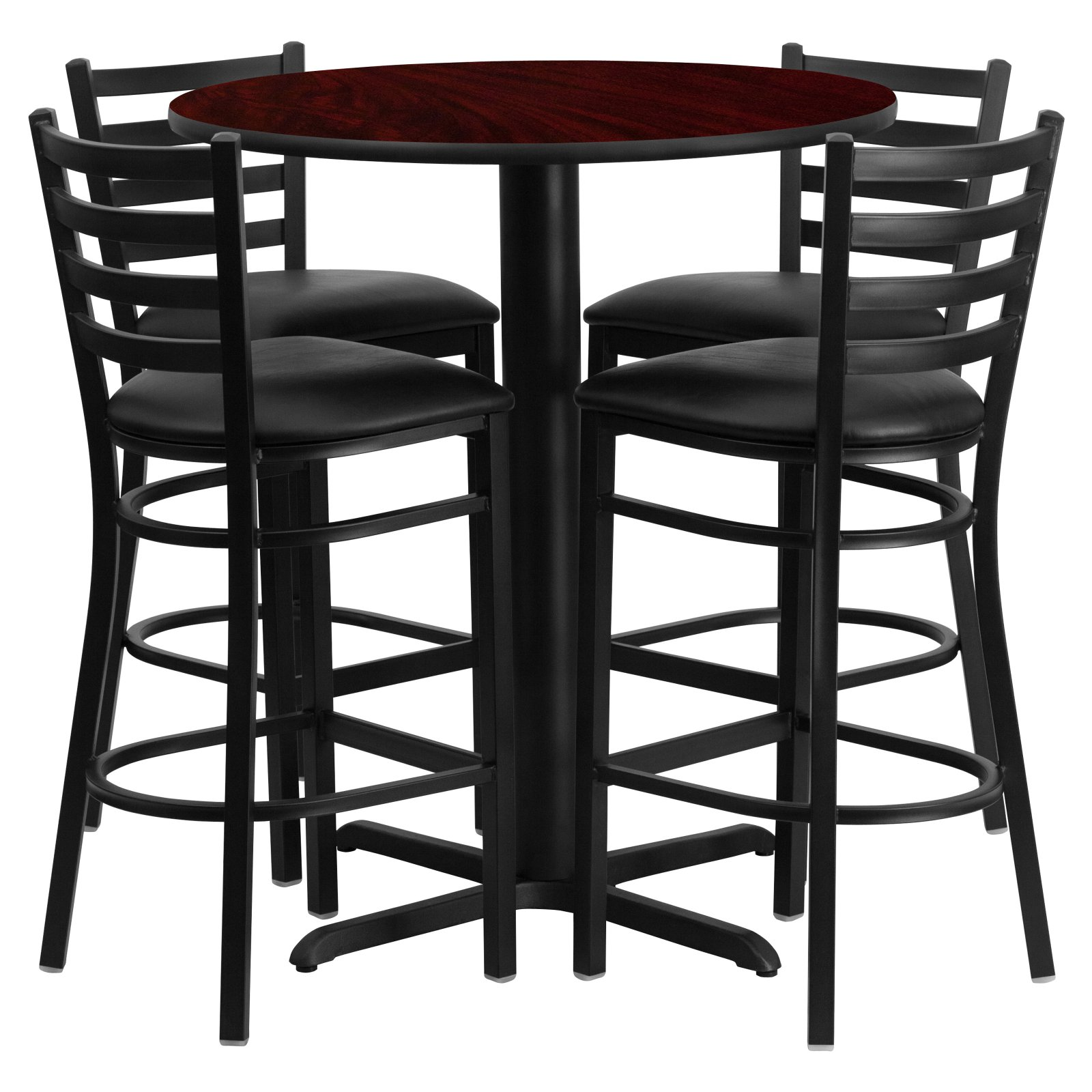 Flash Furniture 30'' Round Mahogany Laminate Table Set with 4 Ladder Back Metal Barstools, Black Vinyl Seat Black, Mahogany