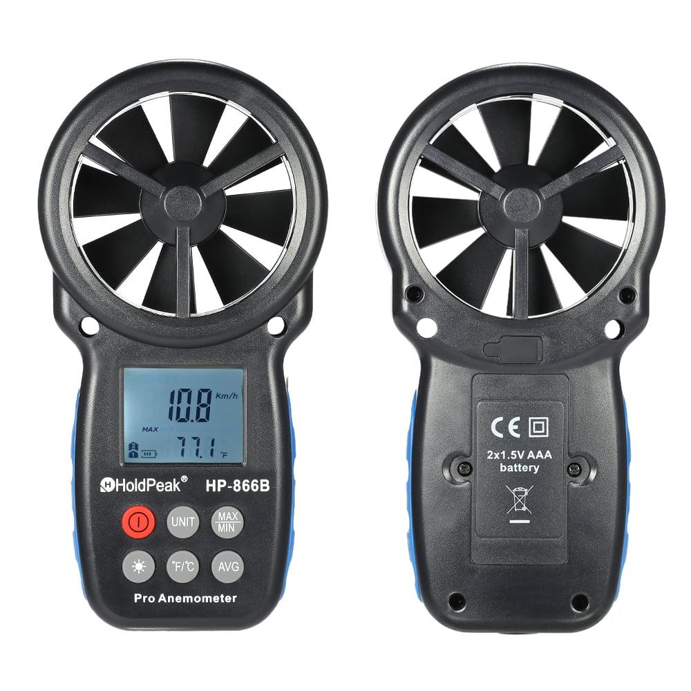HoldPeak HP-866B Mini LCD Digital Anemometer Wind Speed Air Velocity Temperature Measuring... by