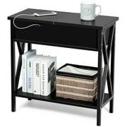 Gymax Flip Top End Table Sofa Side Console Table W/Shelf Hidden Hinged Storage Black