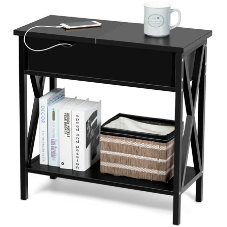 Gymax Flip Top End Table Sofa Side Console Table W/Shelf Hidden Hinged Storage Black