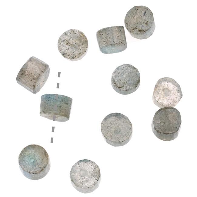 Labradorite Gemstone Round Heishi Beads 3 x 5mm  (25 Pieces)