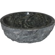 Quiescence SI-VC-166-GRN 16 Inch x6 Inch Sink Vessel Basin Chiseled Exterior- Green Jade