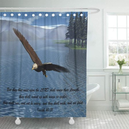 YUSDECOR Bald Eagle Scripture Lake Mountains Pines Trees Bathroom Decor Bath Shower Curtain 60x72 inch - image 1 of 1