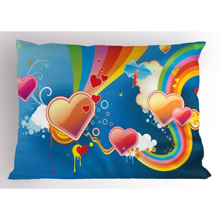 Vintage Rainbow Pillow Sham Funky Illustration of Heart Shapes Floral Elements Clouds Valentines Love, Decorative Standard Size Printed Pillowcase, 26 X 20 Inches, Multicolor, by Ambesonne
