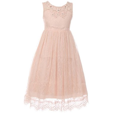 Big Girl Lace Flower Girl Dress Decorated 3D Flower Neckline Blush 10 CC 5036 (Lace Flowergirl Dresses)