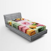 Colorful Fitted Sheet Traditional French Desert Macaroons Themed Collage with Coffee Gourmet Print, Soft Decorative Fabric Bedding, Multicolor, by Ambesonne