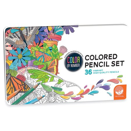 's Colored Pencils in a Tin Set of 36, ARTISTIC QUALITY: MindWare's Colored Pencils in a Tin set of 36 makes coloring book pages come to life.., By