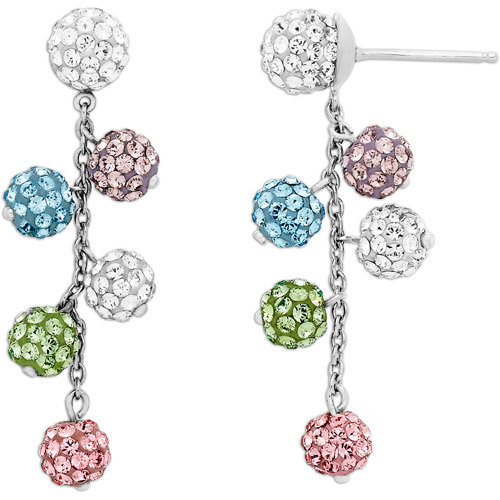Luminesse Sterling Silver Multi-Color Ball Earrings made with Swarovski Elements
