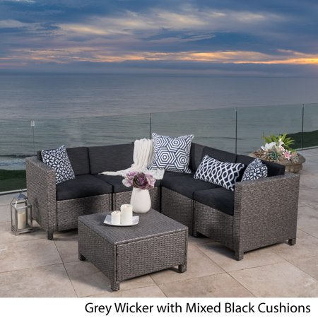 Puerta 6pc All-Weather Wicker Patio V Shaped Chat Set - Dark Gray - Christopher Knight Home